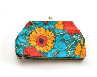 70s Floral Change Purse Clasp Wallet Retro Green