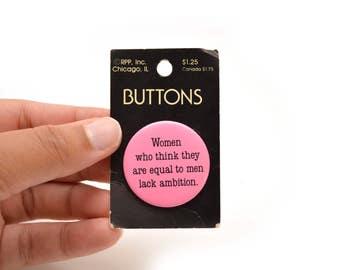"90s Feminism Novelty Pinback Button 1.5"" Pin Ambition Women Men Pink"