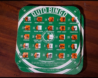 Auto Bingo and Traffic Bingo Cards, 3 of Each, Vintage Road Travel Fun from Yesteryear!
