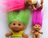 Set of 3 vintage troll dolls-pink, purple, and green hair-vintage collectibles/vintage toys