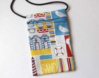 Pouch Zip Bag SEASIDE Fabric. Great for walkers, markets, travel.  Cell Phone Pouch.  Small fabric purse. Bike Trike pouch. Beach theme
