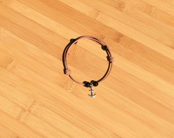 SALE!!!!! Free Shipping! Onyx and Leather Slide Bracelet