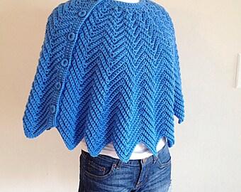 Beautiful Blue Vintage Cape Capelet Sweater Handmade