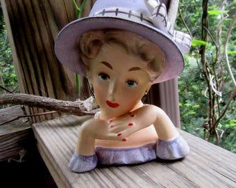 relpo lady head vase, pearl jewlery, spring lilac, excellent