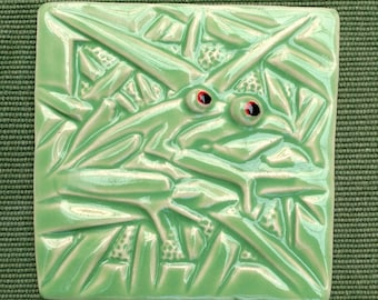 Frogs in Love, Hand Made Tile