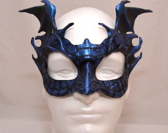 Winged Dark Blue Iridescent Leather Dragon Hatchling Game of Thrones House Targaryen Inspired Cosplay Mask