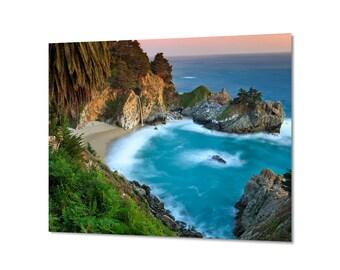 California Photography, Metal Wall Art, Big Sur Photo, Waterfall Picture, Metal Print, Large Art, Beach Decor Aqua Blue Green Turquoise Teal