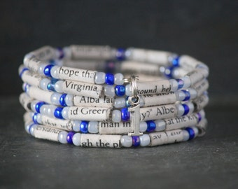 House at the End of Hope Street, Menna van Praag, recycled book jewelry, recycled book bracelet, spiral wrap bracelet, book lover gift