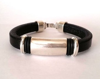 Leather Bracelet,  bracelet for men. Hook clasp, silver plated, husband gift