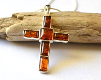 Mens Cross Necklace, Amber Necklace, Mens Necklace with Prayer Cross Pendant, Jewelry for Men, Guys, Dad, Him