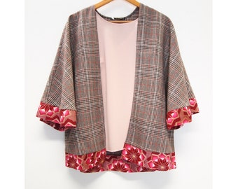 Wool Cape - Winter Kimono Jacket - Wool Jacket - Cape - African print Trims - tweed cape