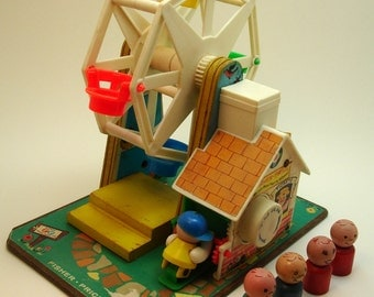 1966 Fisher Price Ferris Wheel Music Box with wooden people, #969, Made in USA, musical movement from Japan