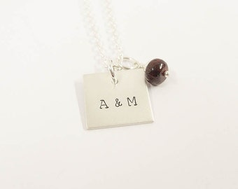 Personalized Hand Stamped Necklace - Square Initial Necklace - Sterling Silver Personalized Jewelry