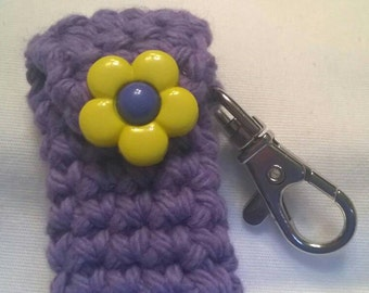 Light Purple Cotton Lip Balm Holder with Yellow Flower Button, Chapstick Case, Lanyard Lip Balm Cozy, Gifts for Her, Stocking Stuffers