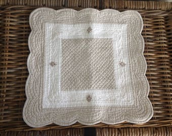 lovely vintage French linen cotton bee pillow
