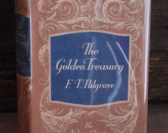 The Golden Treasury By Francis Turner Palgrave 1950s Vintage Hardcover British Classics Literature Decorator Books Poems