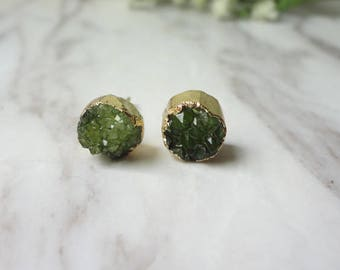 Green Agate Druzy Drusy Golden Raw Rough Gemstone Round Stud Earrings 0370