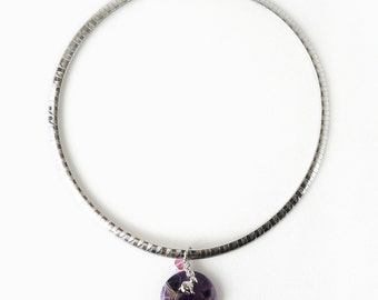 Stylish Amethyst Stone Pendant Necklace with Bunny Charm on Stainless Steel Flat Snake Chain