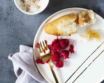 White + Gold Stripe - Dinner Plate
