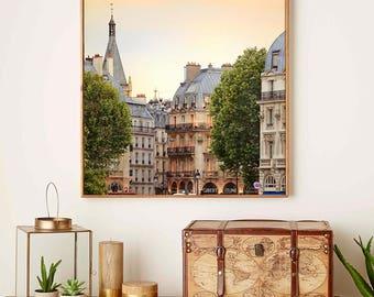 Paris photography architecture art, large wall art print, evening cityscape photo poster, living room decor, 20x20, 12x12, 10x10