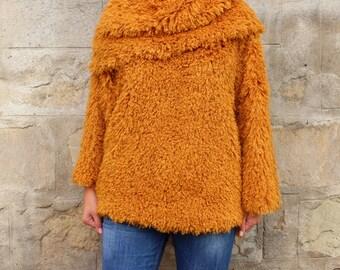 Мustard Maxi sweater/ long sleeve top/ plus size sweater/ oversized sweater / plus size clothing/ Casual clothing/ Winter clothing