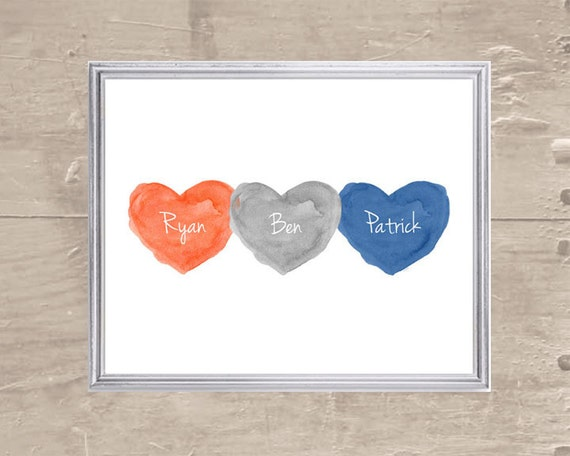 Brothers Print in Orange Navy Gray, 8x10 Personalized Print
