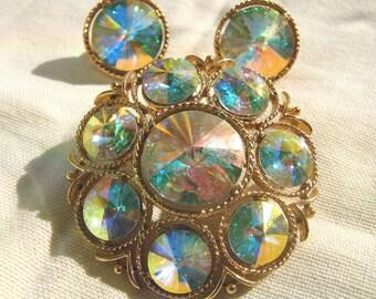 Hypnotic Lisner Vintage Brooch & Earrings Rivoli AB Rhinestones Astonishing Color