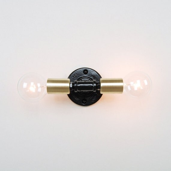 Wall sconce with double socket cup industrial pipe backplate for Industrial pipe light socket