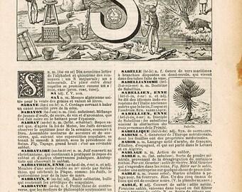 Letter S Vintage Digital Print, Illustrated Dictionary Page, French Vintage Art, 1920s Nouveau Petit LaRousse Illustré, JPEG Download
