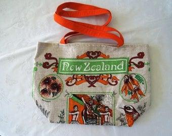 Upcycled Vintage fabric, Large tote bag, shopping bag, Linen & Flax. Kiwiana.
