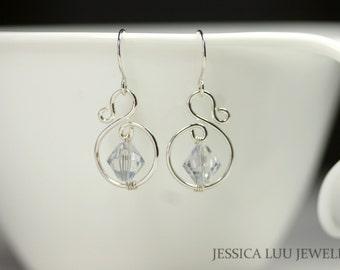 Sterling Silver Earrings Swarovski Crystal Earrings Wire Wrapped Jewelry Handmade Earrings Ice Blue Earrings Swarovski Crystal Jewelry