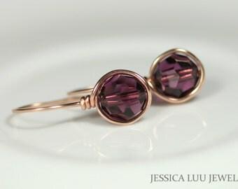 Rose Gold Amethyst Earrings Swarovski Crystal Earrings Wire Wrapped Jewelry Rose Gold Earrings Purple Earrings Rose Gold Jewelry Handmade