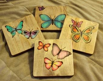 Wood burned 4 piece coasters