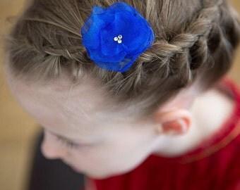 FLOWER HAIR CLIP with Swarovski crystals - Royal Blue Organza