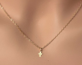 Tiny Gold Cross . Cross Necklace, Gold / Sterling Silver Tiny Cross Necklace. Dainty Gold Cross Necklace. Layered Necklace , Silver Cross