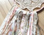 Cream, Pink, metallic gold,  aqua fabric and lace upcycled doily dream catcher, nursery bedroom decor