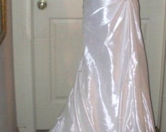 Maggie Sottero Wedding Dress/Gown -  Column Dress with Train - French Taffeta - Minimal Beading - Size 6 - Pre-Owned - Corset Back