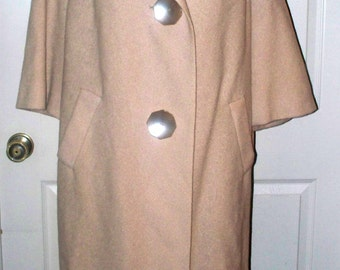 1960s Beige Woven Wool Coat  - Knee Length - Side Pockets - Made in USA - Size 13 - Three Quarter Sleeves - Awesome Buttons