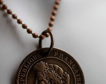 Vintage French Coin Necklace, 1872 France 10 Centimes, with Ballchain