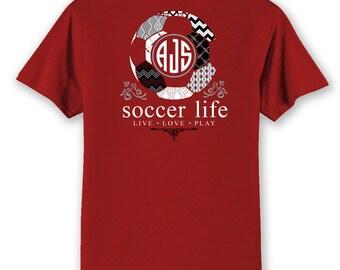 OFFICIAL TM SOCCER Life Team Colors Custom Monogram T-Shirt Soccer Shirt