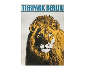SALE 10% OFF Original Vintage Zoo Poster. Berlin. Germany. Tierpark. Lion. Advertising Poster. 2017-058