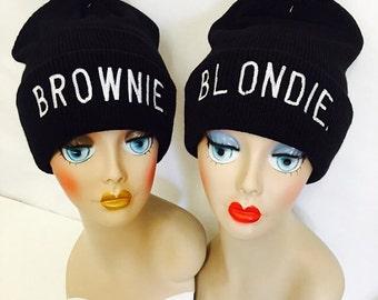 Blondie and Brownie Best Friends Pom Pom Beanie Hat Black and White Knit Hats