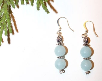 Aqua Quartz Earrings - Quartz earrings - Quartz Dangle earrings - Aqua Drop earrings - 2 inch dangle earrings