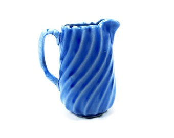 Vintage Cobalt Blue Glaze Stoneware Pitcher - Cobalt Blue with Light Blue Swirl - Vintage Farmhouse Country Pitcher