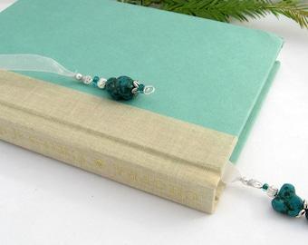 Jeweled Bookmark, Turquoise, Australian Jade, Semi Precious Stones, Silver, Organza Ribbon, Silver Wire Wrapping, Handmade, Gift, Natural
