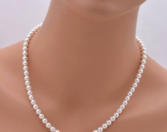 Set of 6 Pearl Necklaces, 6 Bridesmaid Necklaces, Classic Pearl Necklaces, 6mm Pearl Necklaces, 6 Bridesmaid Gifts 0259