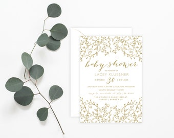 Printable Invitation - Gold Glitter Whimsical Baby Shower Invitation, Wedding Shower Invitation