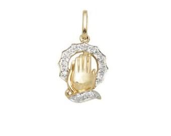 White Diamond and 14k Solid Gold Prayer Hands Pendant Charm, 14k Diamond Prayer Hands, Fine Jewelry Supplies