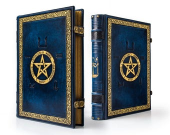 "9.7"" x 13"" - Book of Shadows, Leather Journal, Pentacle book , magician book, grimoire, spell book, blue leather, Ankh Journal"