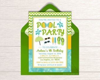 Boys Pool Party Invitation - Printable Green Pool Party Invite - Splash Bash Birthday Package - Summer Beach Themed Birthday - BP08